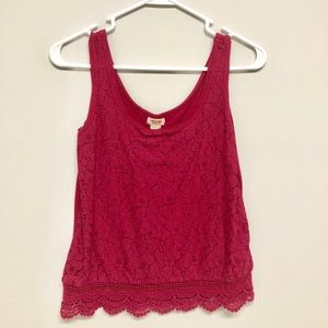 burgundy lace tank top
